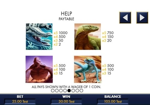 Таблица выплат в аппарате Reptile Riches