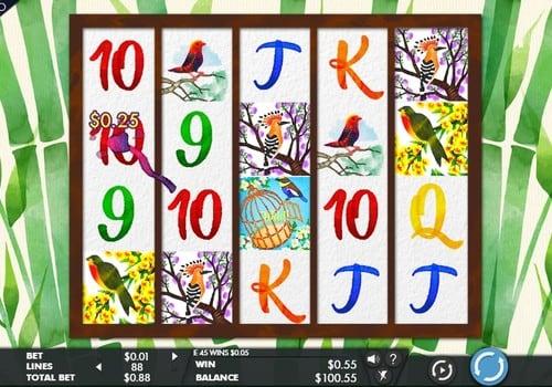 Дикие символы в комбинации в автомате Birds and Blooms