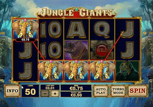Выигрышная комбинация символов в автомате Jungle Giants