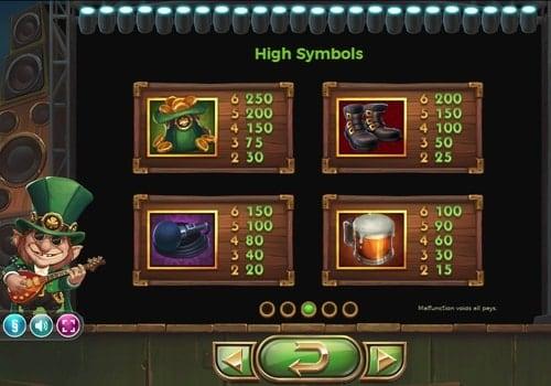Таблица выплат в игре Rainbow Ryan