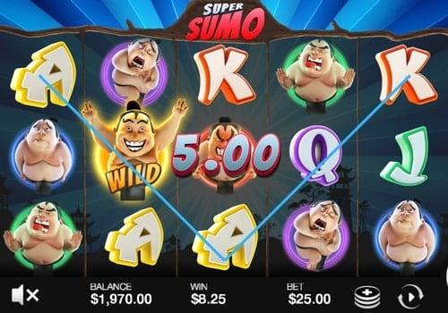 Комбинация с диким знаком в игре Super Sumo