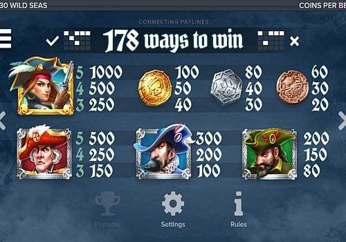 Выплаты за символы в игре Wild Seas