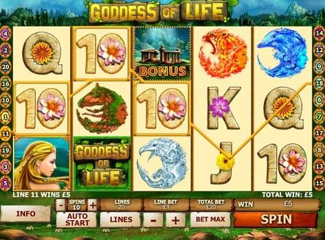 Призовая комбинация в игровом автомате Goddess of Life