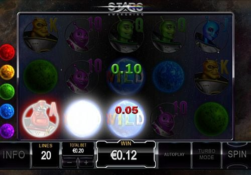 Призовая комбинация с диким знаком в игровом автомате Stars Awakening