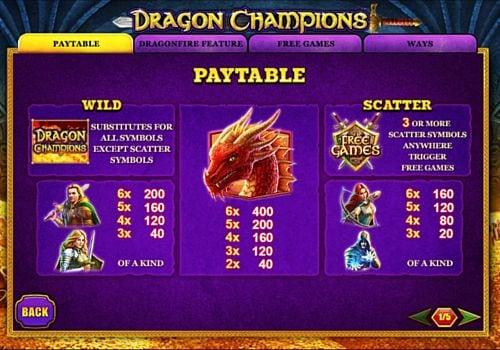 Таблица выплат в онлайн аппарате Dragon Champions