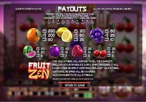Правила игры в онлайн аппарате Fruit Zen