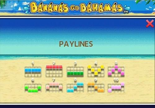Линии выплат в онлайн слоте Bananas go Bahamas